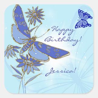 Pegatinas azules de la mariposa pegatina cuadrada