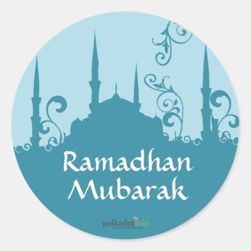 Pegatinas azules de la mezquita del remolino pegatina redonda