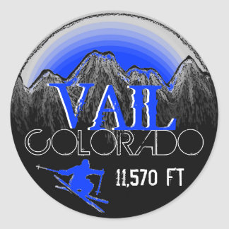 Pegatinas azules de la montaña del esquí de Vail Pegatina Redonda