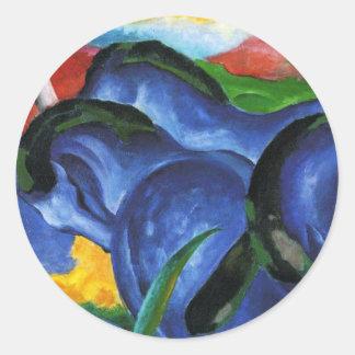 Pegatinas azules de los caballos de Franz Marc Pegatina Redonda