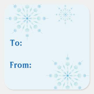 Pegatinas azules de los copos de nieve pegatina cuadrada