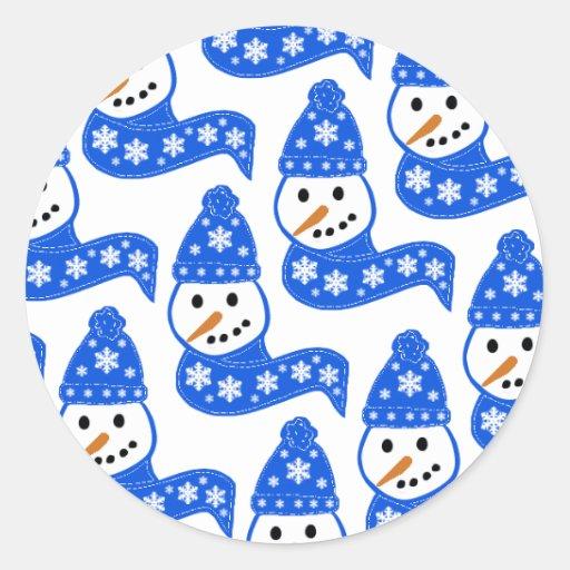 Pegatinas azules de los muñecos de nieve pegatina redonda