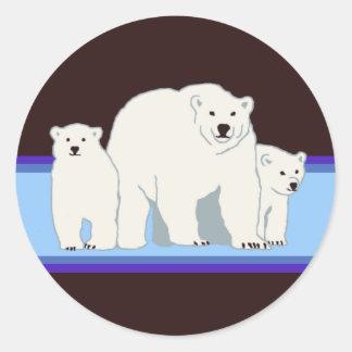 Pegatinas azules de los osos polares pegatina redonda