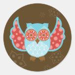 Pegatinas azules de OwlBoheme Etiquetas Redondas