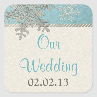 Pegatinas azules de plata del boda del invierno calcomanía cuadradas personalizadas