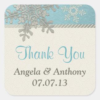 Pegatinas azules de plata del boda del invierno de