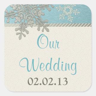 Pegatinas azules de plata del boda del invierno pegatina cuadrada