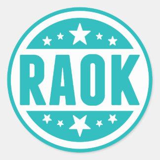 Pegatinas azules de RAOK Pegatina Redonda