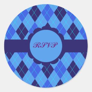 Pegatinas azules de RSVP del modelo de Argyle Pegatina Redonda