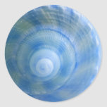 Pegatinas azules de Shell Etiquetas Redondas