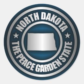 Pegatinas (azules) del acero de Dakota del Norte Pegatina Redonda