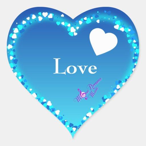 Pegatinas azules del amor del corazón calcomanías corazones personalizadas
