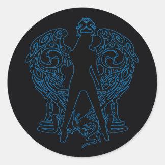 Pegatinas azules del ángel de la serpiente pegatina redonda