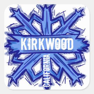 Pegatinas azules del arte del copo de nieve de pegatina cuadrada