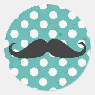 Pegatinas azules del bigote del lunar pegatinas redondas