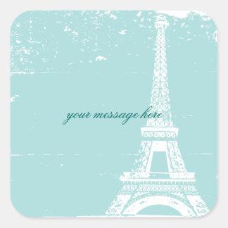 Pegatinas azules del boda de la torre Eiffel Colcomanias Cuadradas