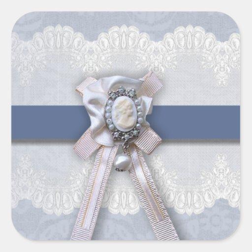 Pegatinas azules del boda del camafeo del cordón pegatina cuadrada
