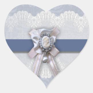 Pegatinas azules del boda del corazón del camafeo calcomanía corazón