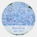 Pegatinas azules del boda del Hydrangea Etiquetas Redondas