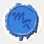 Pegatinas azules del boda del sello del monograma etiqueta redonda