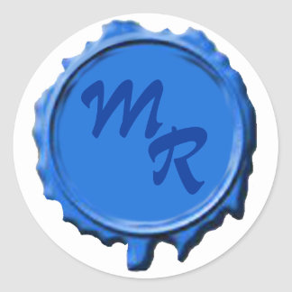 Pegatinas azules del boda del sello del monograma pegatina redonda