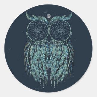 Pegatinas azules del búho del inconformista pegatina redonda