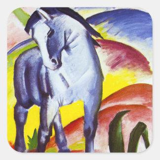 Pegatinas azules del caballo de Franz Marc Pegatina Cuadrada