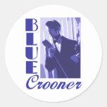 Pegatinas azules del cantante melódico etiqueta redonda