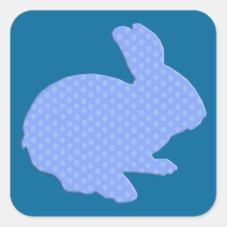 Pegatinas azules del conejito de pascua de la pegatina cuadrada