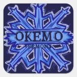 Pegatinas azules del copo de nieve de Okemo Pegatinas Cuadradases