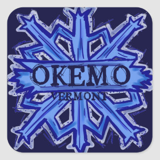 Pegatinas azules del copo de nieve de Okemo Pegatina Cuadrada