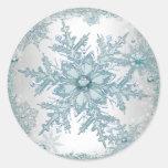 Pegatinas azules del copo de nieve del trullo pegatina redonda
