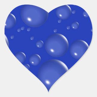Pegatinas azules del corazón de las burbujas pegatina en forma de corazón