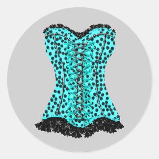 Pegatinas azules del corsé del leopardo del trullo pegatina redonda