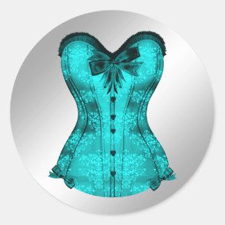 Pegatinas azules del corsé del trullo elegante pegatina redonda