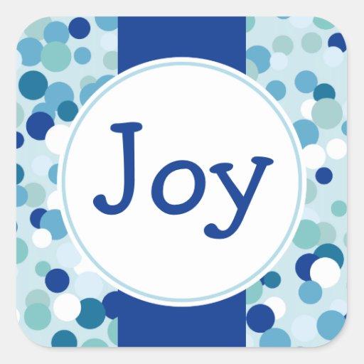 Pegatinas azules del día de fiesta de la alegría pegatina cuadrada