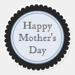 Pegatinas azules del día de madre del cortador de etiquetas redondas