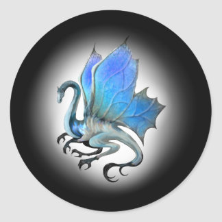 Pegatinas azules del dragón pegatina redonda