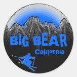 Pegatinas azules del esquí de California de la Pegatina Redonda