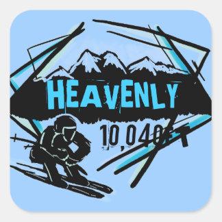Pegatinas azules del esquí de la elevación divina pegatina cuadrada