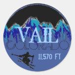 Pegatinas azules del esquí de la montaña de Vail Etiqueta Redonda