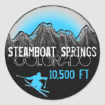 Pegatinas azules del esquí de Steamboat Springs Etiquetas Redondas