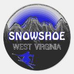Pegatinas azules del esquí de Virginia Occidental Pegatina Redonda