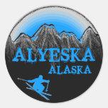 Pegatinas azules del esquiador de Alyeska Alaska Pegatina Redonda