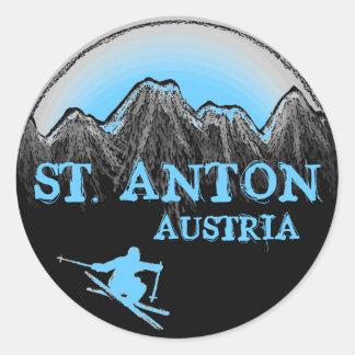 Pegatinas azules del esquiador del St Antón Austr