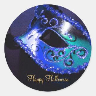 Pegatinas azules del fiesta de Halloween de la Etiqueta Redonda