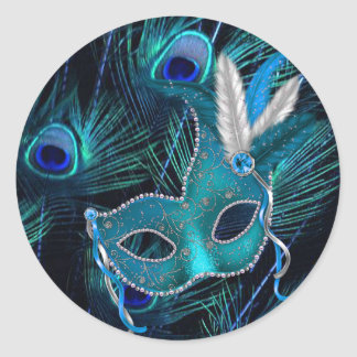 Pegatinas azules del fiesta de la mascarada del pegatina redonda