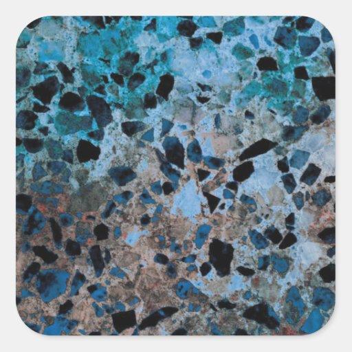 Pegatinas azules del granito pegatina cuadradas