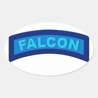 Pegatinas azules del halcón pegatina ovalada