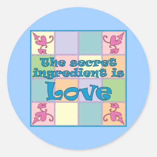 Pegatinas (azules) del ingrediente secreto pegatina redonda